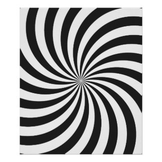 Modelo blanco y negro del remolino póster
