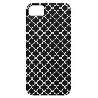 Modelo blanco y negro del trébol de Quatrefoil iPhone 5 Case-Mate Protector