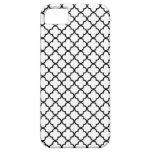 Modelo blanco y negro del trébol de Quatrefoil iPhone 5 Case-Mate Carcasa