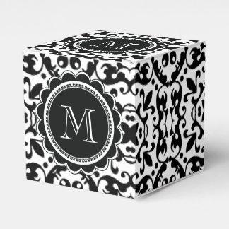 Modelo blanco y negro elegante del damasco caja para regalos