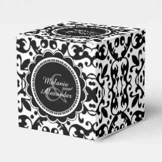 Modelo blanco y negro elegante del damasco cajas para detalles de boda