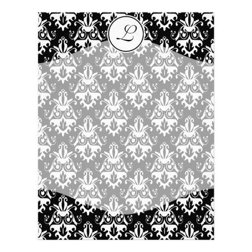 Modelo blanco y negro elegante del damasco membrete a diseño