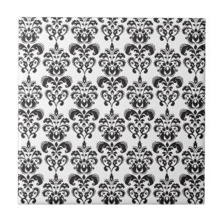Modelo blanco y negro femenino 2 del damasco del v azulejo cerámica