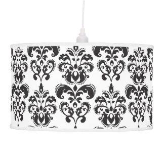 Modelo blanco y negro femenino 2 del damasco del v lámpara de techo