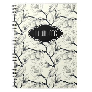Modelo blanco y negro floral personalizado libreta espiral