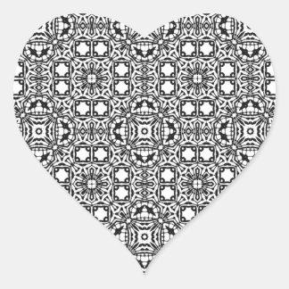 Modelo blanco y negro hermoso y complejo colcomanias corazon personalizadas