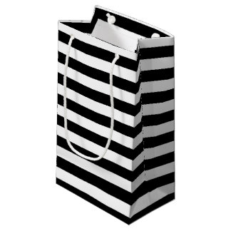 Modelo blanco y negro horizontal de la raya bolsa de regalo pequeña