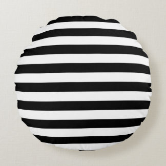 Modelo blanco y negro horizontal de la raya cojín redondo