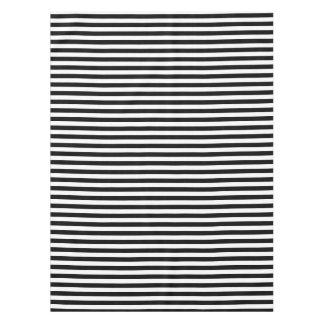 Modelo blanco y negro horizontal de la raya mantel de tela