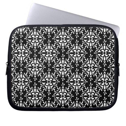Modelo blanco y negro lindo del damasco mangas computadora