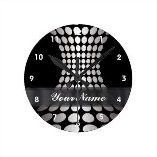 Modelo blanco y negro moderno del círculo reloj redondo mediano