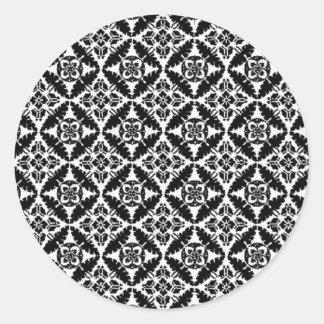 Modelo blanco y negro pegatina redonda