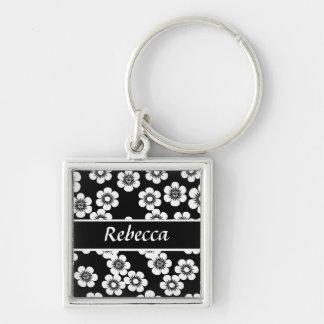 Modelo blanco y negro personalizado de la impresió llaveros