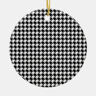 Modelo blanco y negro retro adorno navideño redondo de cerámica