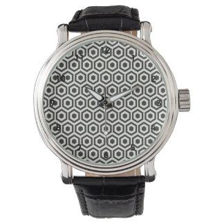 Modelo blanco y negro retro del panal relojes