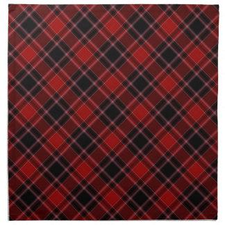 Modelo blanco y negro rojo de la tela escocesa de  servilletas