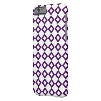 Modelo blanco y púrpura del diamante funda para iPhone 6 barely there