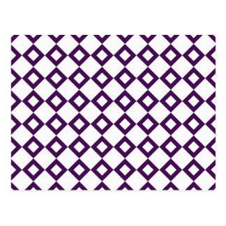 Modelo blanco y púrpura del diamante postales