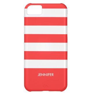 Modelo blanco y rojo coral 2 de Monogramed de las Funda Para iPhone 5C
