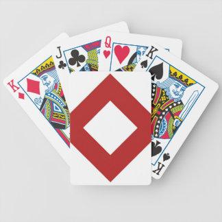 Modelo blanco y rojo del diamante cartas de juego