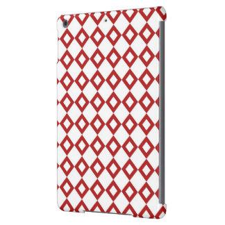 Modelo blanco y rojo del diamante funda para iPad air