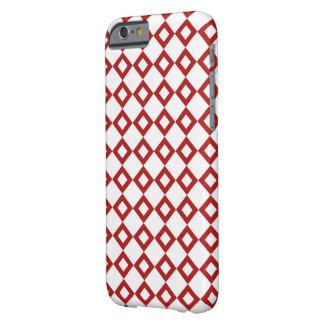 Modelo blanco y rojo del diamante funda para iPhone 6 barely there