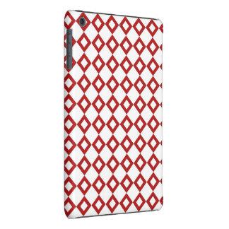 Modelo blanco y rojo del diamante fundas de iPad mini