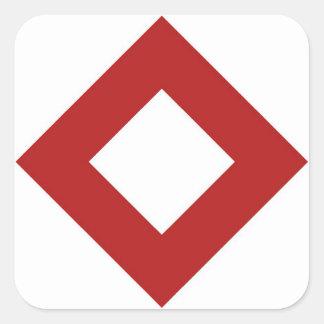 Modelo blanco y rojo del diamante pegatinas cuadradases