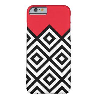 Modelo blanco y rojo negro moderno de Chevron Funda Barely There iPhone 6