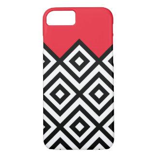 Modelo blanco y rojo negro moderno de Chevron Funda iPhone 7