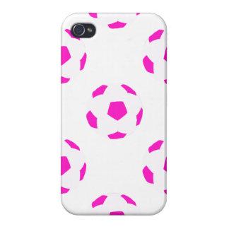 Modelo blanco y rosado del balón de fútbol iPhone 4 carcasa