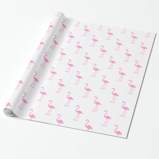 Modelo blanco y rosado del flamenco papel de regalo
