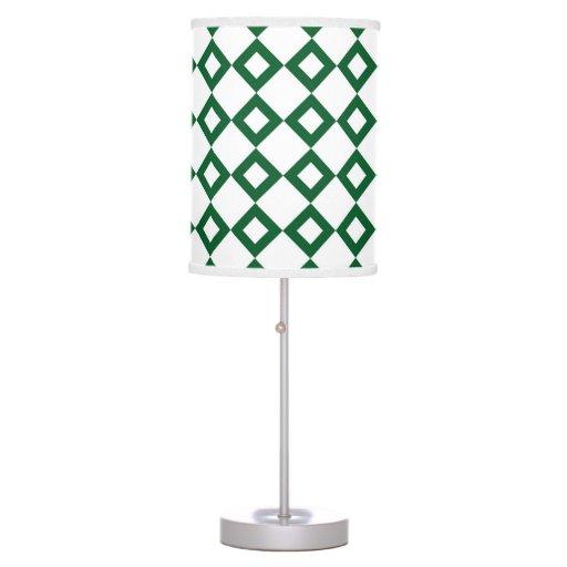 Modelo blanco y verde del diamante lámpara de mesa