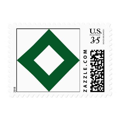 Modelo blanco y verde del diamante sellos