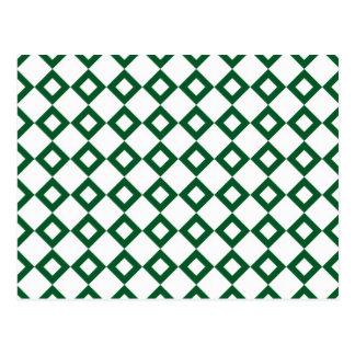 Modelo blanco y verde del diamante tarjetas postales