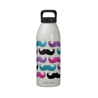 Modelo bling colorido del bigote (falso brillo) botella de agua reutilizable