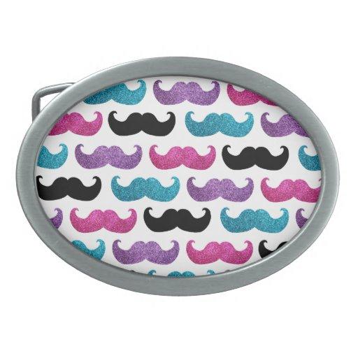 Modelo bling colorido del bigote (falso brillo) hebilla cinturón oval