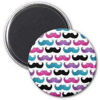 Modelo bling colorido del bigote (falso brillo) imán redondo 5 cm