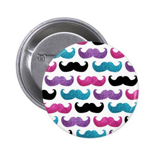 Modelo bling colorido del bigote (falso brillo) pin redondo 5 cm