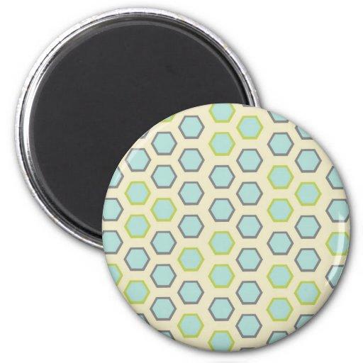 Modelo bonito de la teja del hexágono del azul y d imán redondo 5 cm