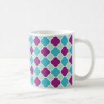 Modelo bonito de Quatrefoil de la púrpura y de la  Tazas De Café