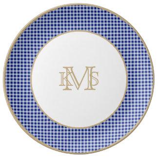 Modelo bonito del control de la guinga del azul platos de cerámica