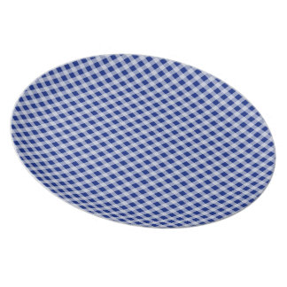 Modelo bonito del control de la guinga del azul platos de comidas