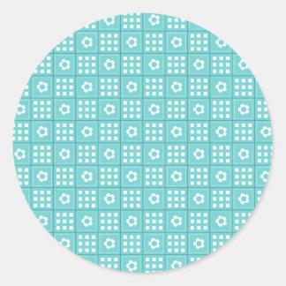Modelo bonito del edredón de remiendo del trullo pegatina redonda
