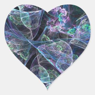 Modelo bonito del fractal pegatina en forma de corazón