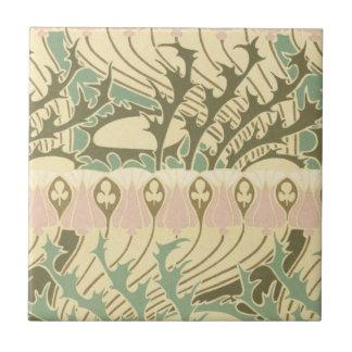 modelo botánico del arte del nouveau del arte del  azulejo cuadrado pequeño