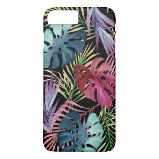 Modelo botánico del follaje tropical colorido funda iPhone 7 plus
