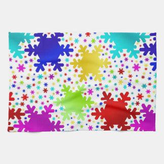 Modelo brillante colorido del copo de nieve toalla de cocina