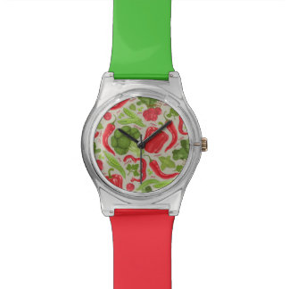 Modelo brillante de verduras frescas reloj de mano