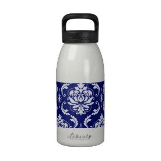 Modelo brillante del damasco de los azules marinos botella de beber